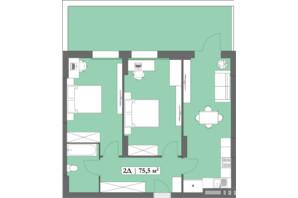 ЖК Lagom: планировка 2-комнатной квартиры 75.5 м²