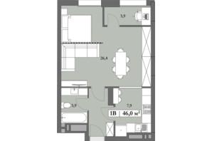 ЖК Lagom: планировка 1-комнатной квартиры 46 м²