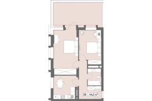 ЖК Lagom: планування 2-кімнатної квартири 64.2 м²