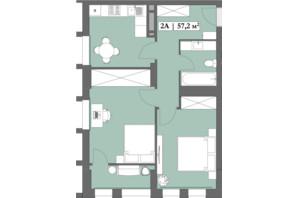 ЖК Lagom: планування 2-кімнатної квартири 57.2 м²