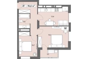 ЖК Lagom: планування 2-кімнатної квартири 56.6 м²