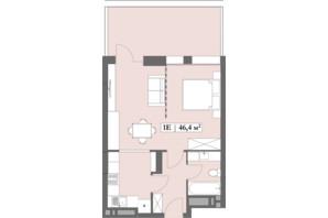 ЖК Lagom: планування 1-кімнатної квартири 46.4 м²