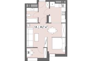 ЖК Lagom: планування 1-кімнатної квартири 44.67 м²