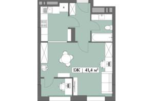 ЖК Lagom: планування 1-кімнатної квартири 41.4 м²