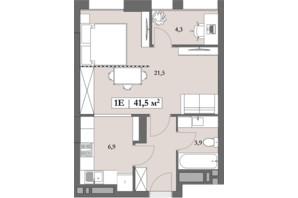 ЖК Lagom: планування 1-кімнатної квартири 41.5 м²