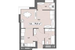 ЖК Lagom: планування 1-кімнатної квартири 39.8 м²