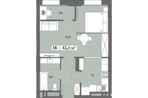ЖК Lagom: планування 1-кімнатної квартири 42.3 м²