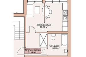 ЖК Лайм-2: планировка 1-комнатной квартиры 31.48 м²