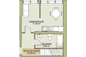ЖК Лайм-2: планировка 2-комнатной квартиры 66.68 м²