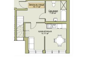 ЖК Лайм-2: планировка 2-комнатной квартиры 74.17 м²