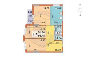 ЖК Lake House: планировка 3-комнатной квартиры 92.45 м²