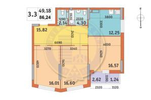 ЖК Lake House: планировка 3-комнатной квартиры 86.24 м²