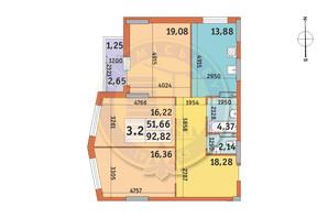ЖК Lake House: планировка 3-комнатной квартиры 92.82 м²