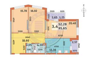ЖК Lake House: планировка 3-комнатной квартиры 95.65 м²