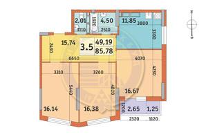 ЖК Lake House: планировка 3-комнатной квартиры 85.78 м²