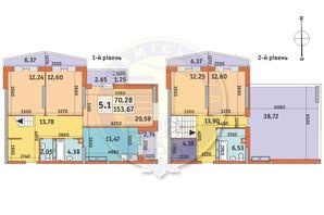 ЖК Lake House: планировка 5-комнатной квартиры 153.67 м²
