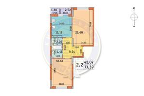 ЖК Lake House: планування 2-кімнатної квартири 73.39 м²
