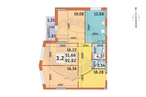 ЖК Lake House: планування 3-кімнатної квартири 92.82 м²
