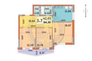 ЖК Lake House: планування 3-кімнатної квартири 84.58 м²