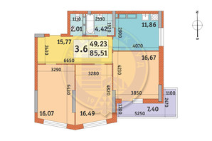 ЖК Lake House: планування 3-кімнатної квартири 85.82 м²