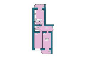 ЖК Lakeberry: планування 2-кімнатної квартири 76.83 м²