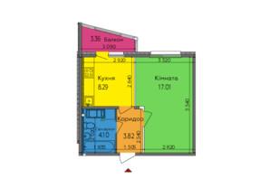 ЖК Lalaland: планировка 1-комнатной квартиры 35.91 м²