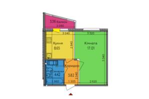 ЖК Lalaland: планировка 1-комнатной квартиры 36.59 м²