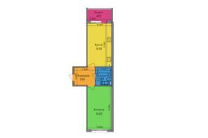 ЖК Lalaland: планировка 1-комнатной квартиры 48.54 м²