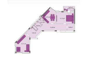 ЖК Лавандовый: планировка 2-комнатной квартиры 81.88 м²