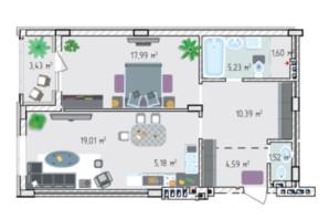 ЖК Лавандовый: планировка 2-комнатной квартиры 69.03 м²