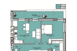 ЖК Lazur Family (Лазур Фемили): планировка 1-комнатной квартиры 54.72 м²
