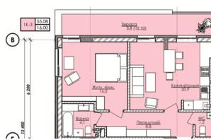 ЖК Lazur Family (Лазур Фемили): планировка 1-комнатной квартиры 55.08 м²