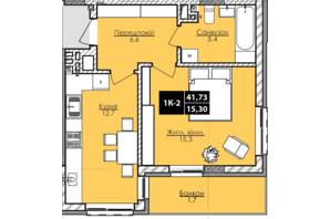 ЖК Lazur Family (Лазур Фемили): планировка 1-комнатной квартиры 41.73 м²