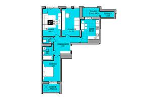 ЖК Lazur SKY  (Лазур Скай): планування 3-кімнатної квартири 85.72 м²