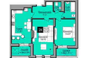 ЖК Lazur SKY  (Лазур Скай): планировка 2-комнатной квартиры 70.3 м²