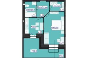 ЖК Лазурний: планування 1-кімнатної квартири 35.88 м²