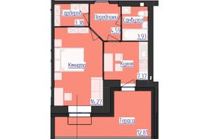 ЖК Лазурный: планировка 1-комнатной квартиры 35.54 м²