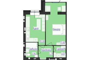 ЖК Лазурный: планировка 1-комнатной квартиры 40.54 м²