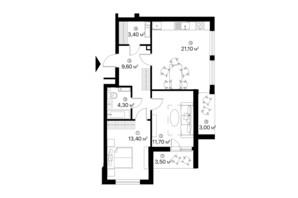 ЖК Лебединый: планировка 2-комнатной квартиры 70 м²