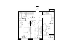 ЖК Лебединый: планировка 2-комнатной квартиры 61.3 м²