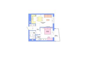 ЖК Legenda: планування 1-кімнатної квартири 52.2 м²