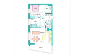 ЖК Legenda: планування 2-кімнатної квартири 83.5 м²