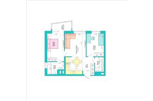 ЖК Legenda: планування 2-кімнатної квартири 64.7 м²