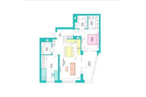 ЖК Legenda: планировка 2-комнатной квартиры 83.6 м²