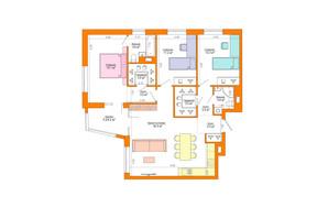 ЖК Legenda: планировка 3-комнатной квартиры 102.7 м²