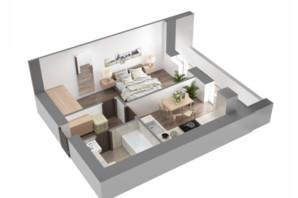 ЖК Лелека 3: планування 1-кімнатної квартири 49 м²