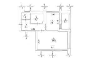 ЖК Лесной квартал: планировка 1-комнатной квартиры 41.4 м²