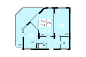 ЖК Лесопарковый: планировка 2-комнатной квартиры 77.5 м²
