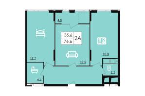 ЖК Лесопарковый: планировка 2-комнатной квартиры 76.6 м²