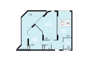 ЖК Лесопарковый: планировка 2-комнатной квартиры 79.1 м²